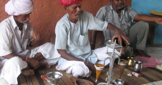 Traditional opium ceremony, Rohet, India