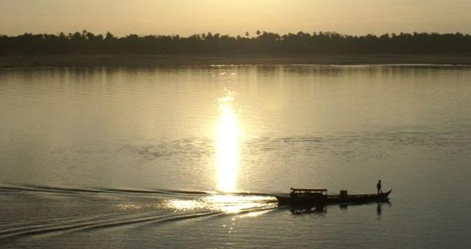 River at sunset, Kratie, Cambodia