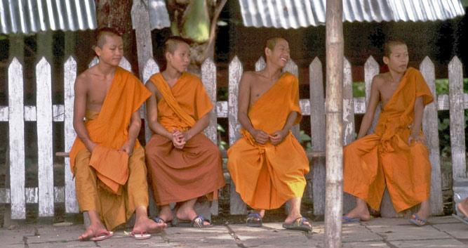 Monks resting in the shade, Luang Prabang, Laos
