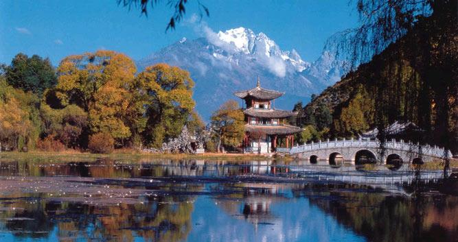 Lake and mountain, Lijiang, Yunnan, China