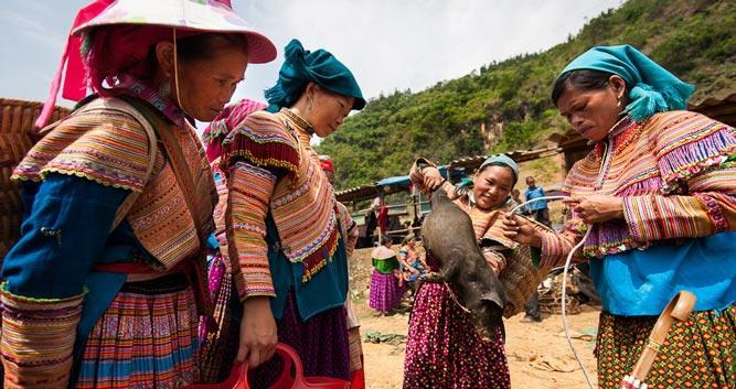 Flower Hmong women, Can Cau market, Sapa, Vietnam