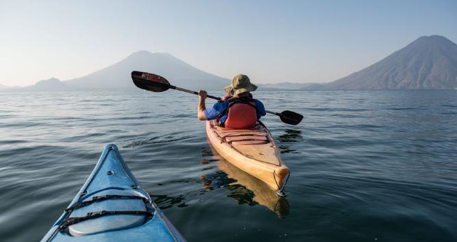 Paddling on Lake Atitlan