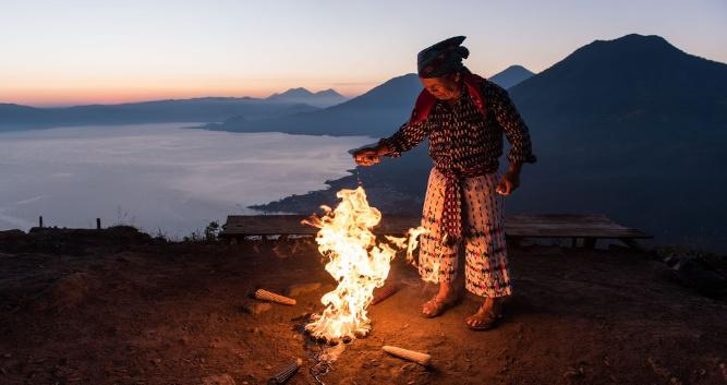 Shaman ceremony above Lake Atitlan