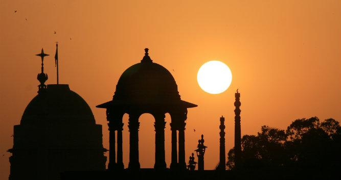 Building silhouette, New Delhi, India