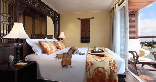 Deluxe cabin, the Jayavarman, luxury Mekong cruise, Vietnam