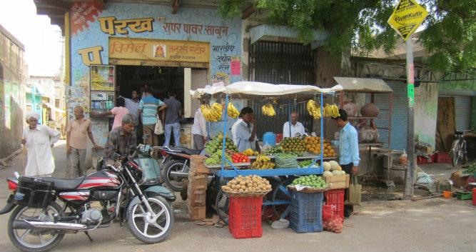 Fruit and vegetable stall, Alsisar, India