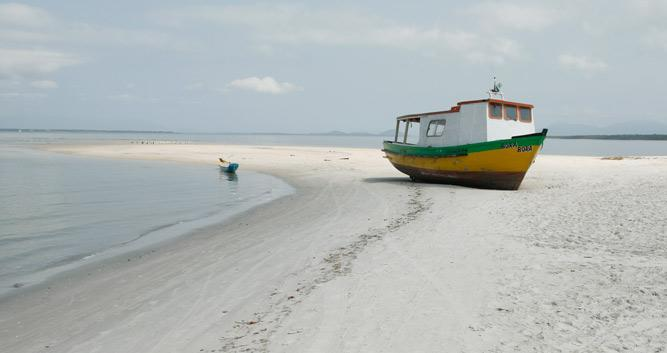 A lonely fishing boat, Ilha do Mel, Brazil