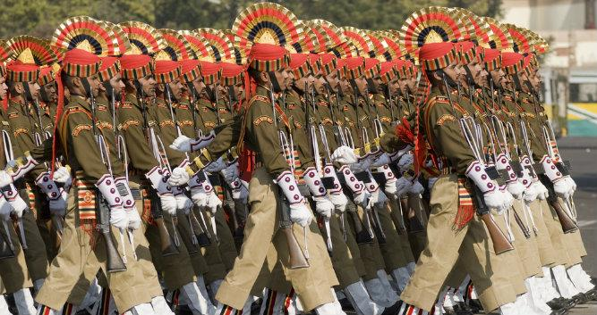 Indian Army marching downm the Raj Path, Delhi, India