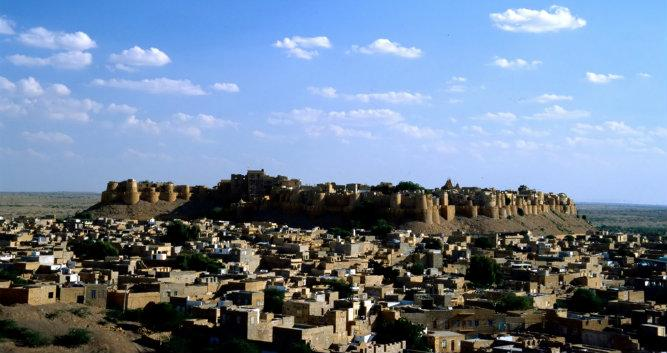 Blue sky over Jaisalmer, India