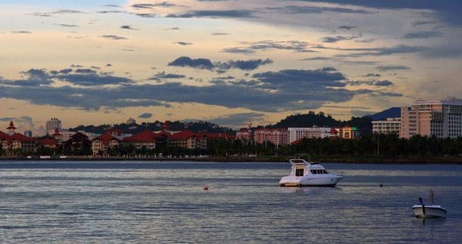 Sunset at the waterfront, Kota Kinabalu, Borneo