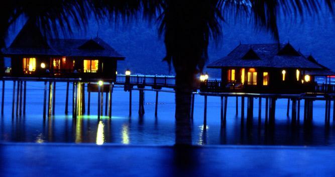 Water bungalows at night, Pangkor Laut, Malaysia