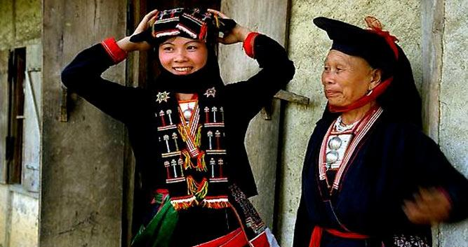 Ladies in traditional hilltribe dress, Mai Chau, Vietnam