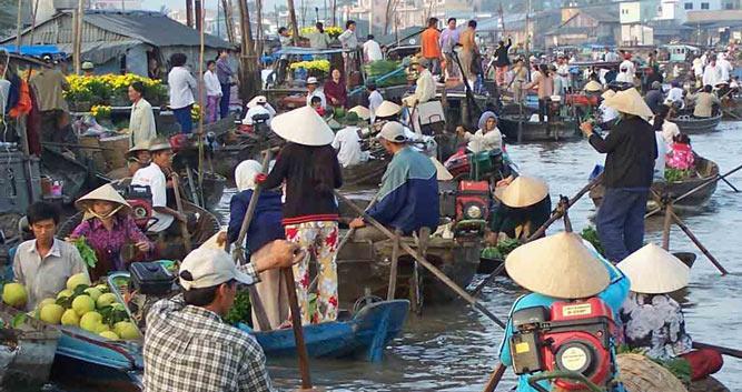 Bustling daily floating markets, Mekong Delta, Vietnam