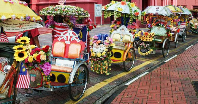 Decorated cyclos, Malacca, Malaysia