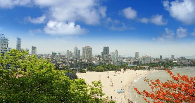 City view from beach, Mumbai, India
