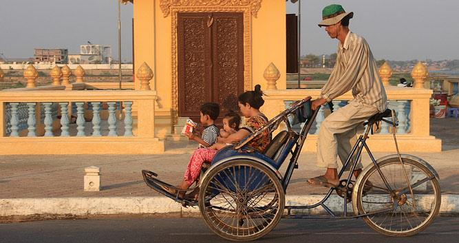 Traditional cyclo taxi, Phnom Penh, Cambodia