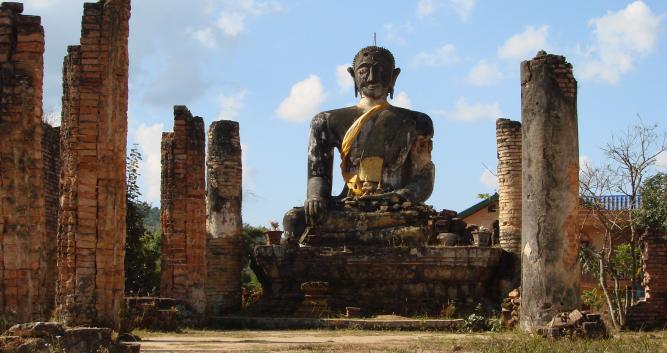 Temple at the plain of jars, Phonsavan, Laos
