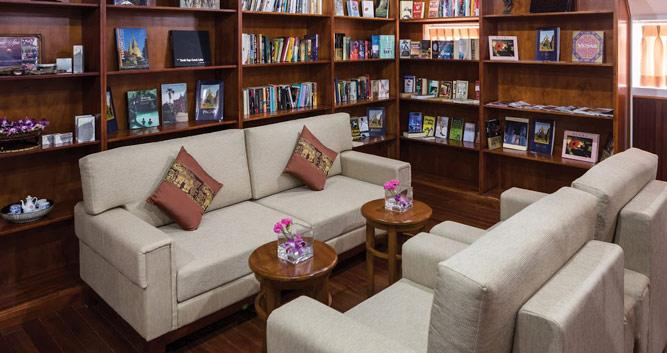 Lounge and library onboard the RV Mekong, Pandaw cruise, Vietnam