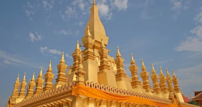 Buddhist monument Pha That Luang, Vientiane, Laos