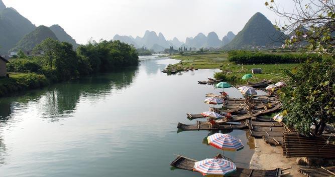 2. Bamboo boats on Li River, Yangshuo, near Guilin in Luxury Travel China