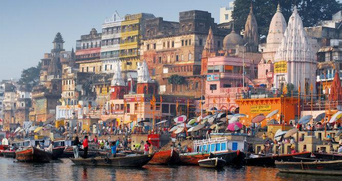 Colourful main ghat, Varanasi, India
