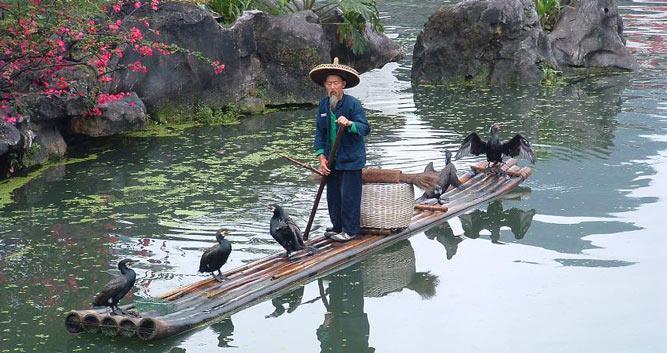 Cormorant-fisherman-near-Guilin-China