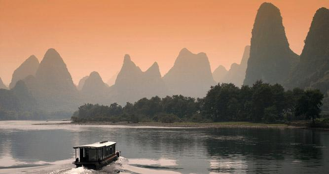 Dusk on the Li River, Yangshuo, near Guilin in Luxury Travel China