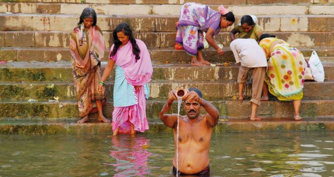 Hindu man washing, Varanasi, India