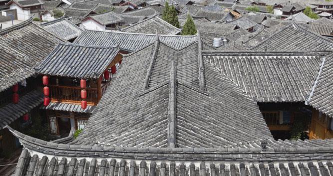 Grey tiled roofs, Lijiang, Yunnan, China