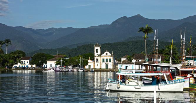 A view across the bay towards Paraty, Brazil