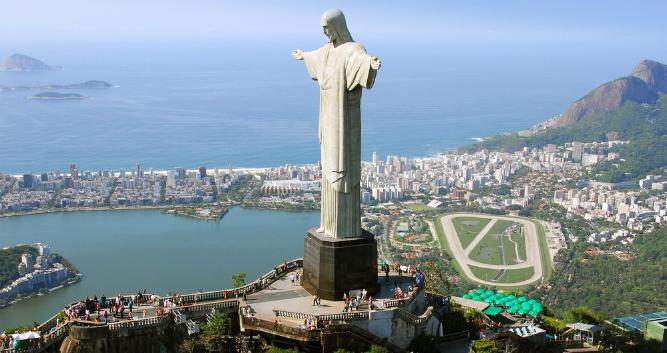 Christ the Redeemer and Rio Race track, Brazil, South America
