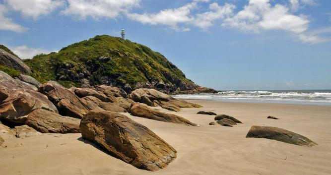 A view across to Ilha do Mel's lighthouse, Brazil