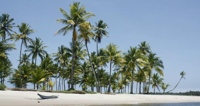 Powder white beaches on Ilha Boipeba close to Morro Sao Paulo, Brazil