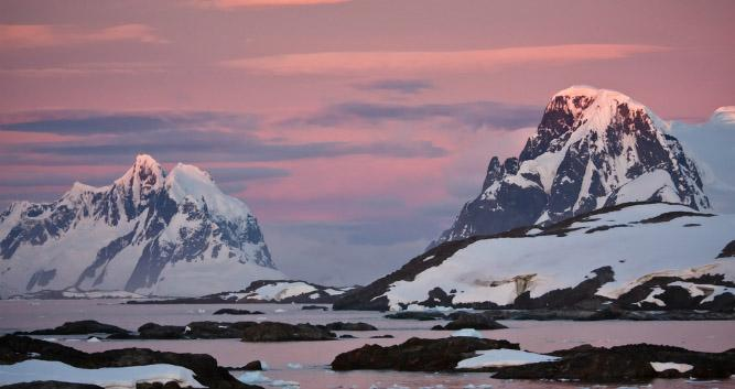 sunset over Antarctica