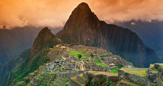 sunset at Machu Picchu, Peru