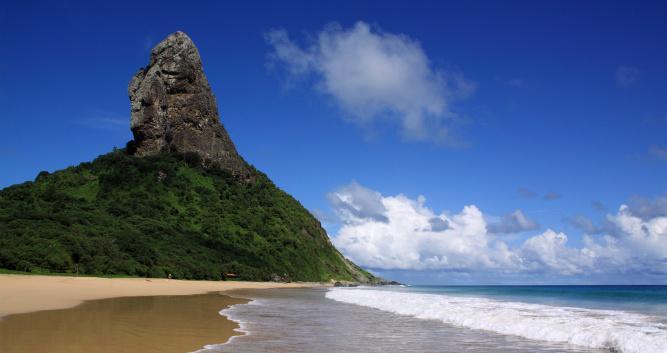 Granite peaks tower the beaches on Fernando de Noronha, Brazil