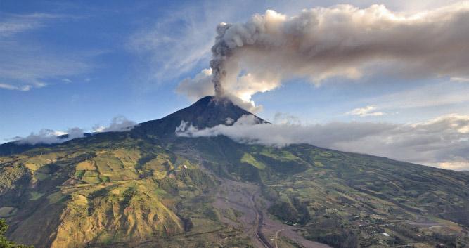 smoking volcano, Ecuador