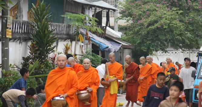 Monks collecting alms, Luang Prabang, Laos