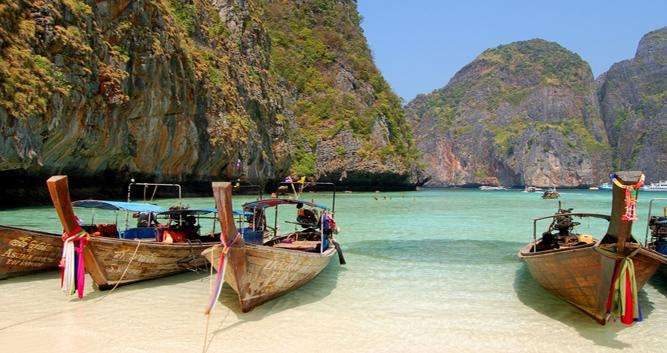 Traditional long boats, Southern beaches, Thailand