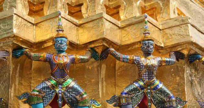 Decorated statues at the Royal Palace, Bangkok Thailand