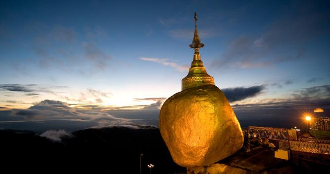 Twlight at the Golden Rock, Burma