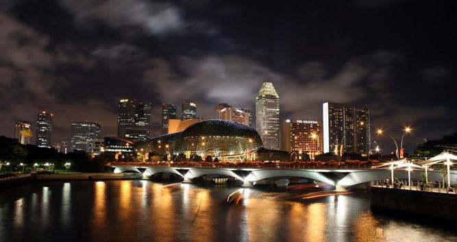 River at night, Singapore