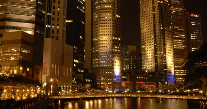 City lights at night, Singapore
