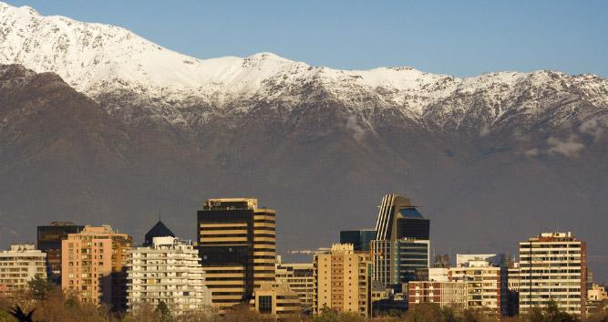 Santiago skyline in winter, Chile, South America