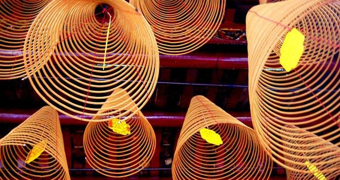 Temple ceiling incense coils, Vietnam
