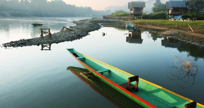 Canoes on the river, Vang Vieng, Laos