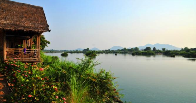 River view from Wat Phou , Champasak Province, Laos